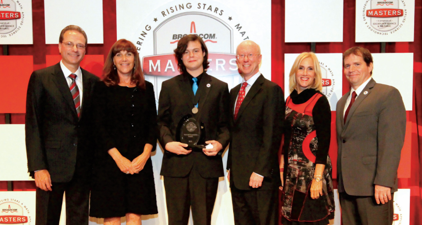 River Grace (third from left) won the Broadcom MASTERS competition. With him were, from left: Henry Samueli of Broadcom Corp., Susan Samueli of the Samueli Foundation, Scott McGregor of Broadcom Corp., Paula Golden of Broadcom Foundation and Rick Bates of SSP.